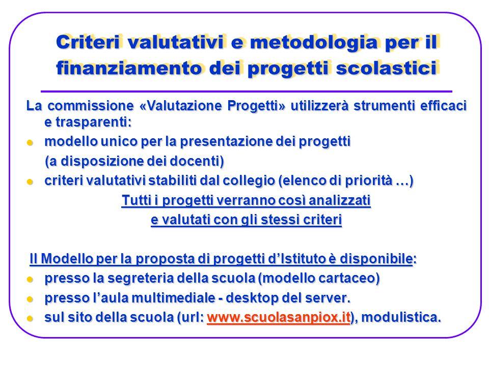 Criteri valutativi e metodologia per il finanziamento dei progetti scolastici