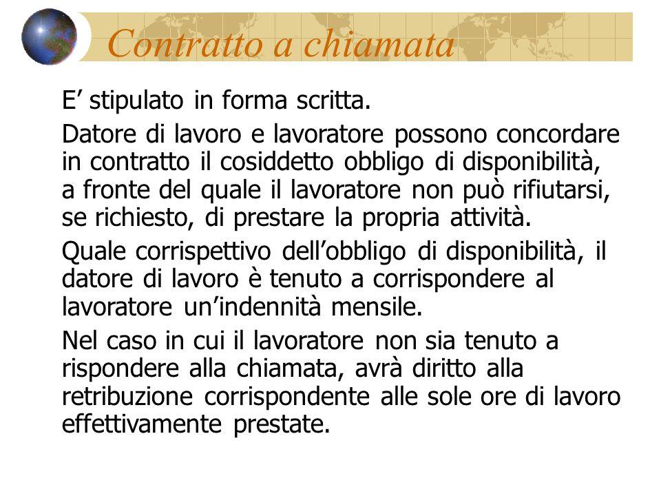 Contratto a chiamata E' stipulato in forma scritta.