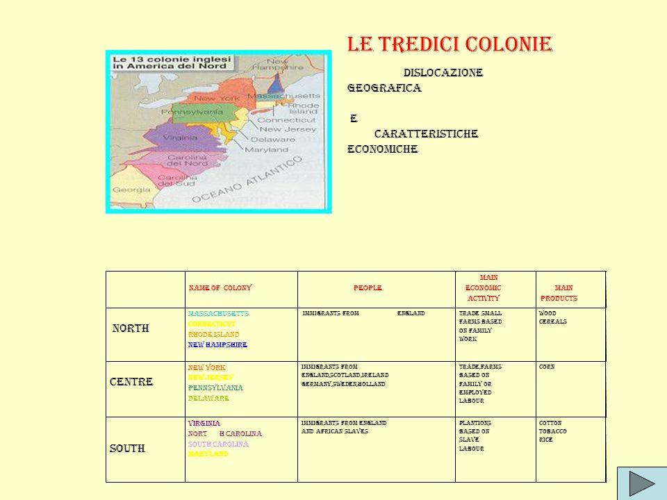 Le tredici colonie DISLOCAZIONE GEOGRAFICA E CARATTERISTICHE