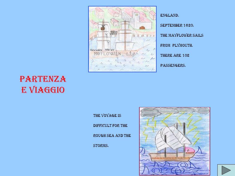 Partenza e viaggio England. September 1620. The Mayflower sails
