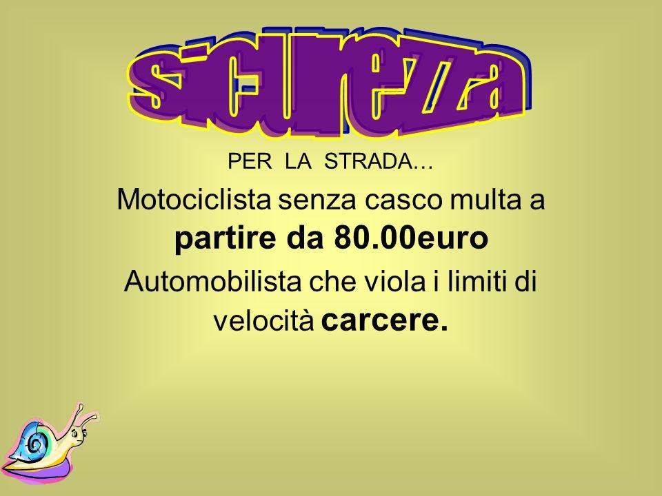 sicurezza Motociclista senza casco multa a partire da 80.00euro