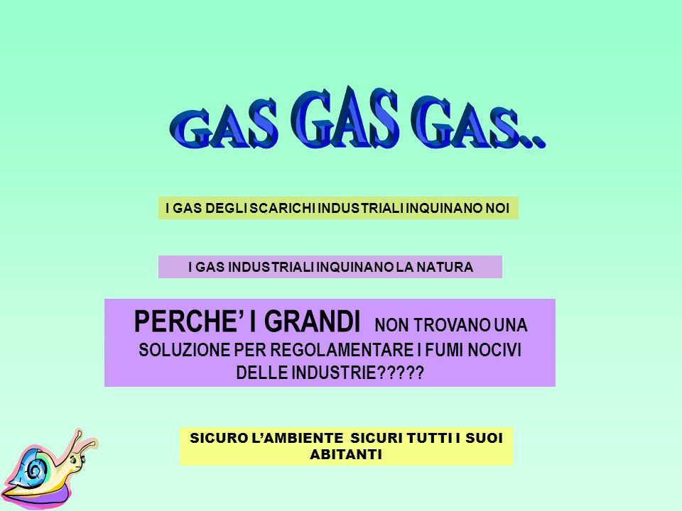 GAS GAS GAS.. I GAS DEGLI SCARICHI INDUSTRIALI INQUINANO NOI. I GAS INDUSTRIALI INQUINANO LA NATURA.