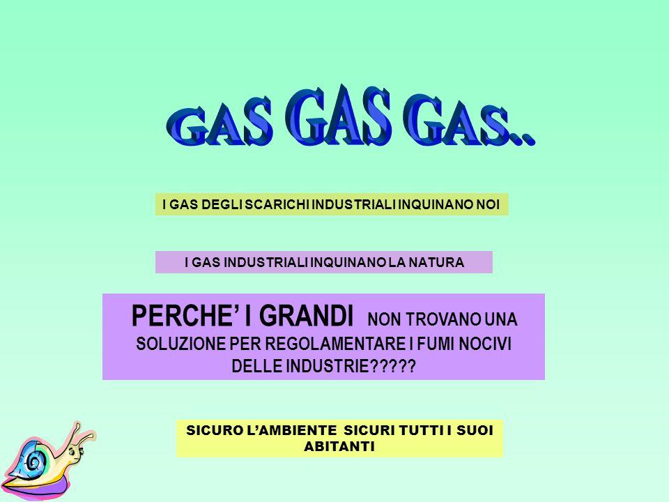 GAS GAS GAS..I GAS DEGLI SCARICHI INDUSTRIALI INQUINANO NOI. I GAS INDUSTRIALI INQUINANO LA NATURA.