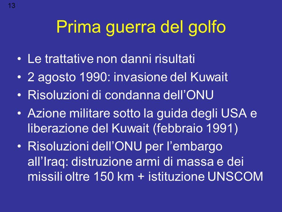 Prima guerra del golfo Le trattative non danni risultati