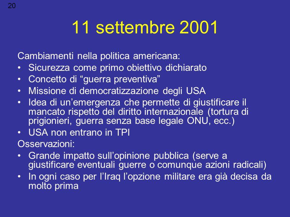 11 settembre 2001 Cambiamenti nella politica americana: