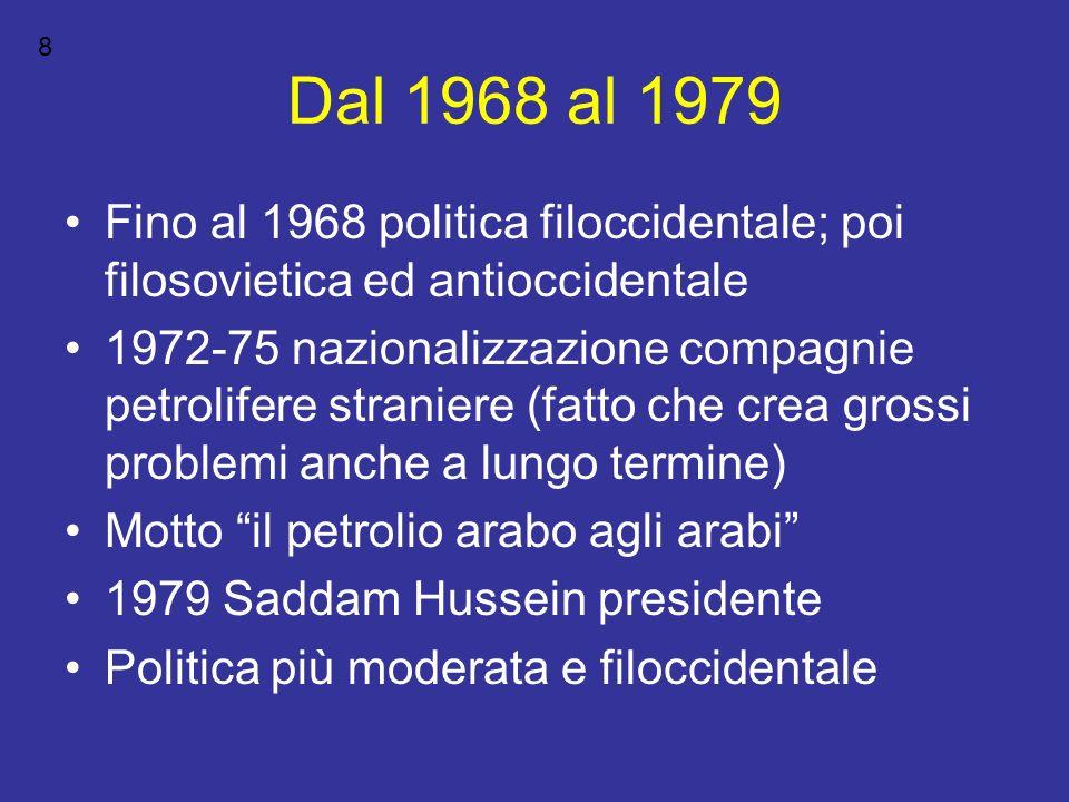 8 Dal 1968 al 1979. Fino al 1968 politica filoccidentale; poi filosovietica ed antioccidentale.