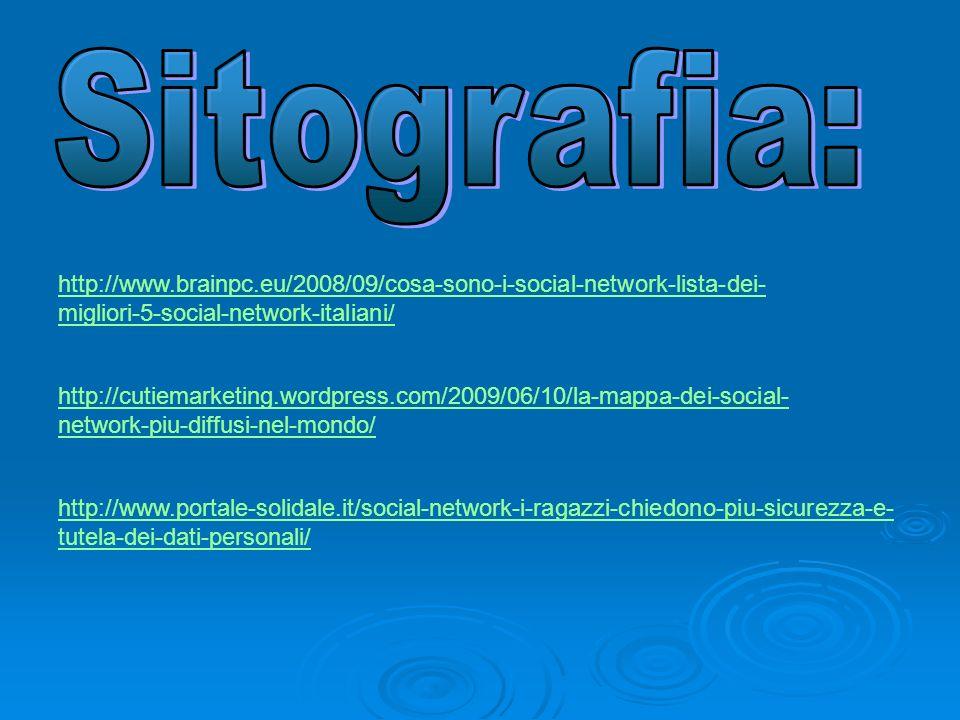 Sitografia:http://www.brainpc.eu/2008/09/cosa-sono-i-social-network-lista-dei-migliori-5-social-network-italiani/