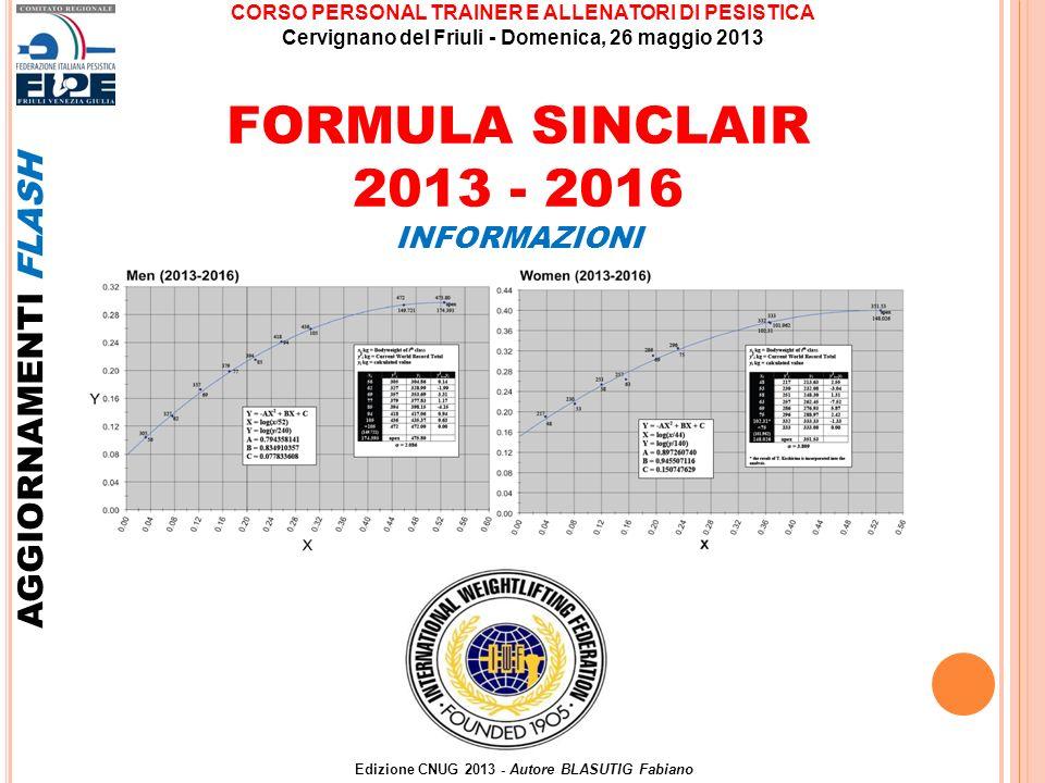 FORMULA SINCLAIR 2013 - 2016 AGGIORNAMENTI FLASH INFORMAZIONI