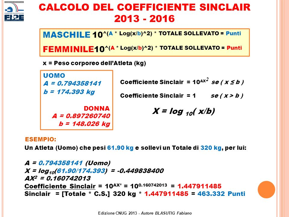 CALCOLO DEL COEFFICIENTE SINCLAIR 2013 - 2016