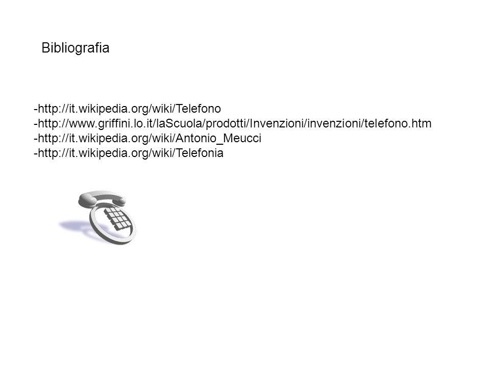 Bibliografia -http://it.wikipedia.org/wiki/Telefono