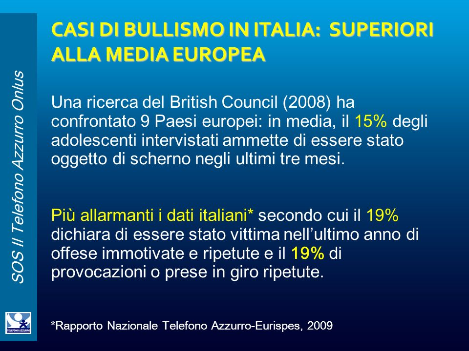 CASI DI BULLISMO IN ITALIA: SUPERIORI ALLA MEDIA EUROPEA