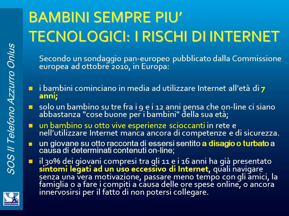 BAMBINI SEMPRE PIU' TECNOLOGICI: I RISCHI DI INTERNET
