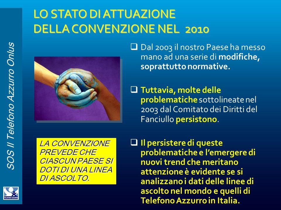 LO STATO DI ATTUAZIONE DELLA CONVENZIONE NEL 2010