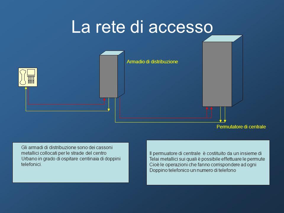 La rete di accesso Armadio di distribuzione Permutatore di centrale