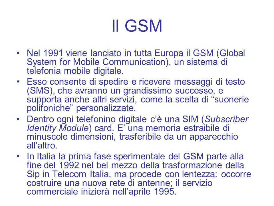 Il GSMNel 1991 viene lanciato in tutta Europa il GSM (Global System for Mobile Communication), un sistema di telefonia mobile digitale.