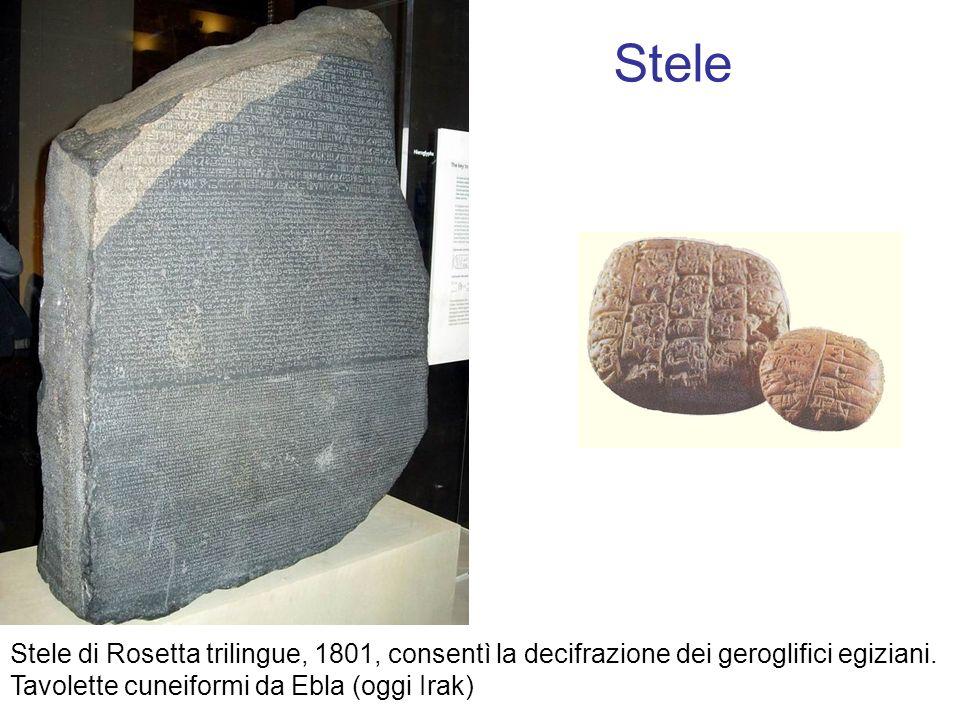 Stele Stele di Rosetta trilingue, 1801, consentì la decifrazione dei geroglifici egiziani.