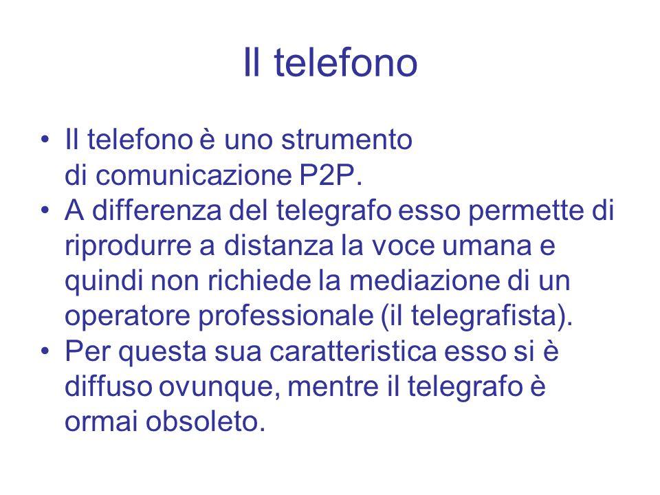 Il telefono Il telefono è uno strumento di comunicazione P2P.