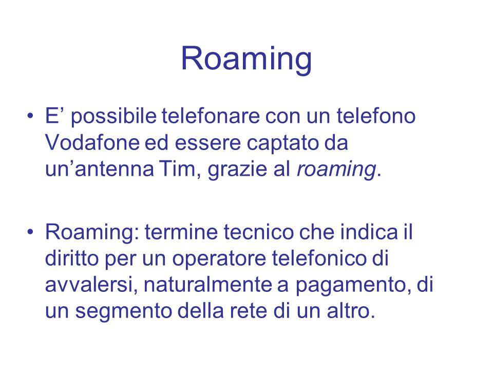 Roaming E' possibile telefonare con un telefono Vodafone ed essere captato da un'antenna Tim, grazie al roaming.