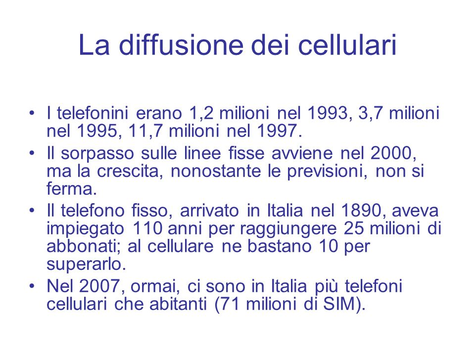 La diffusione dei cellulari