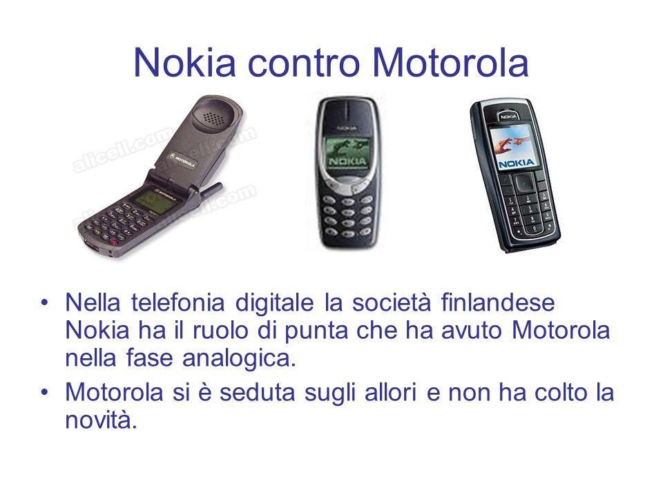 Nokia contro MotorolaNella telefonia digitale la società finlandese Nokia ha il ruolo di punta che ha avuto Motorola nella fase analogica.
