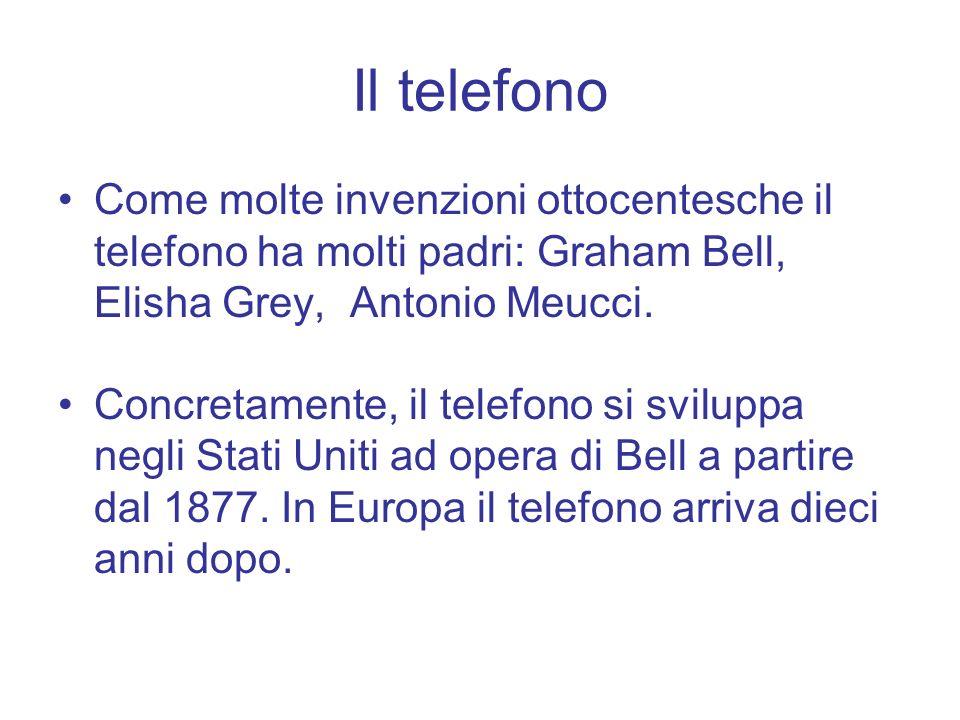 Il telefono Come molte invenzioni ottocentesche il telefono ha molti padri: Graham Bell, Elisha Grey, Antonio Meucci.