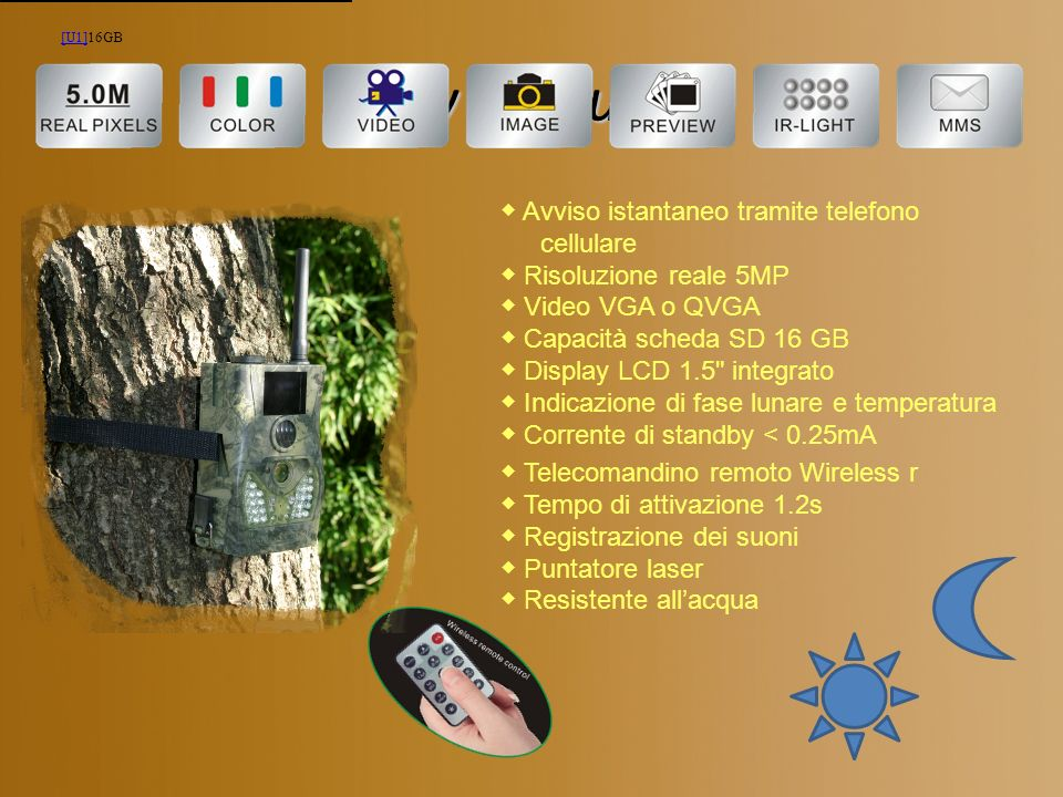 Key Features ◆ Avviso istantaneo tramite telefono cellulare