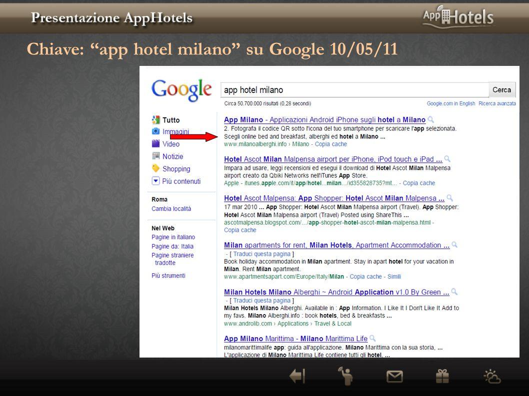Chiave: app hotel milano su Google 10/05/11