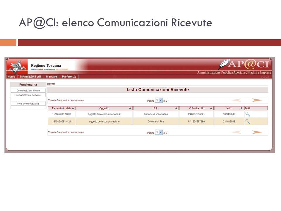 AP@CI: elenco Comunicazioni Ricevute