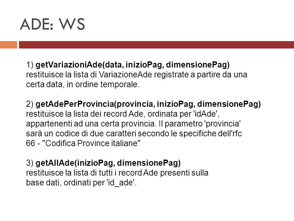 ADE: WS 1) getVariazioniAde(data, inizioPag, dimensionePag)