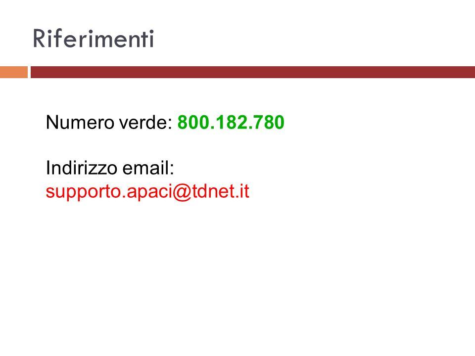 Riferimenti Numero verde: 800.182.780