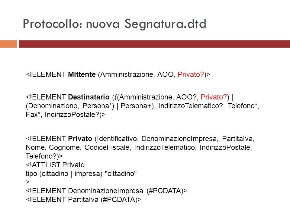 Protocollo: nuova Segnatura.dtd