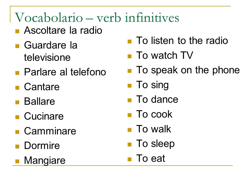 Vocabolario – verb infinitives