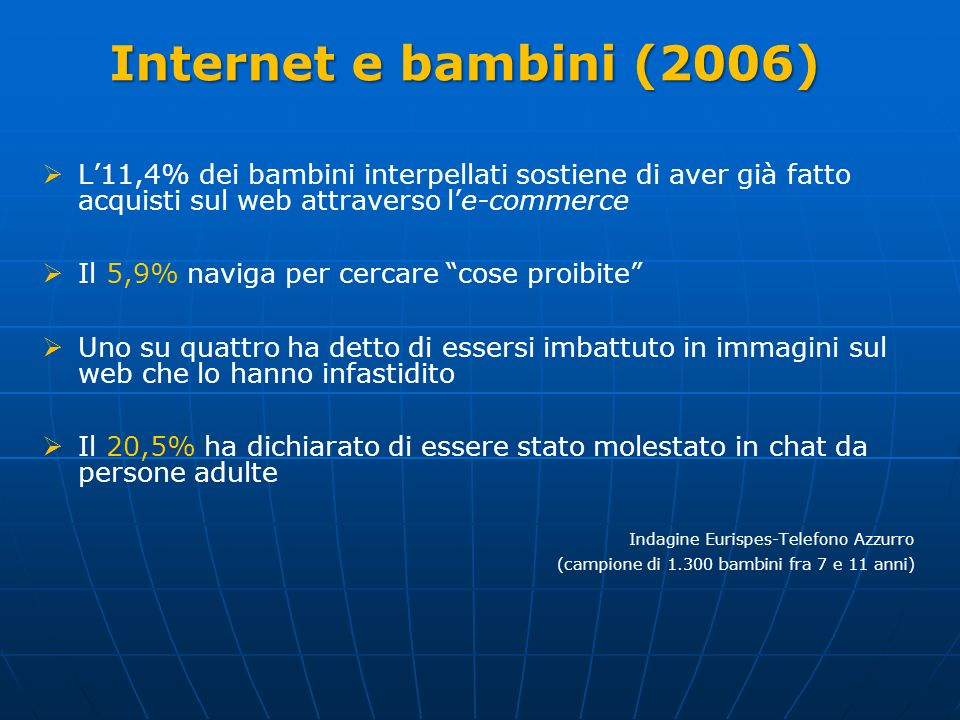 Internet e bambini (2006) L'11,4% dei bambini interpellati sostiene di aver già fatto acquisti sul web attraverso l'e-commerce.