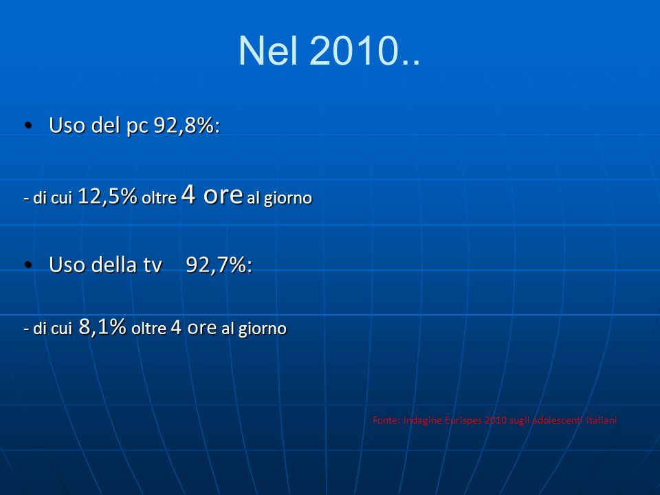 Nel 2010.. Uso del pc 92,8%: Uso della tv 92,7%: