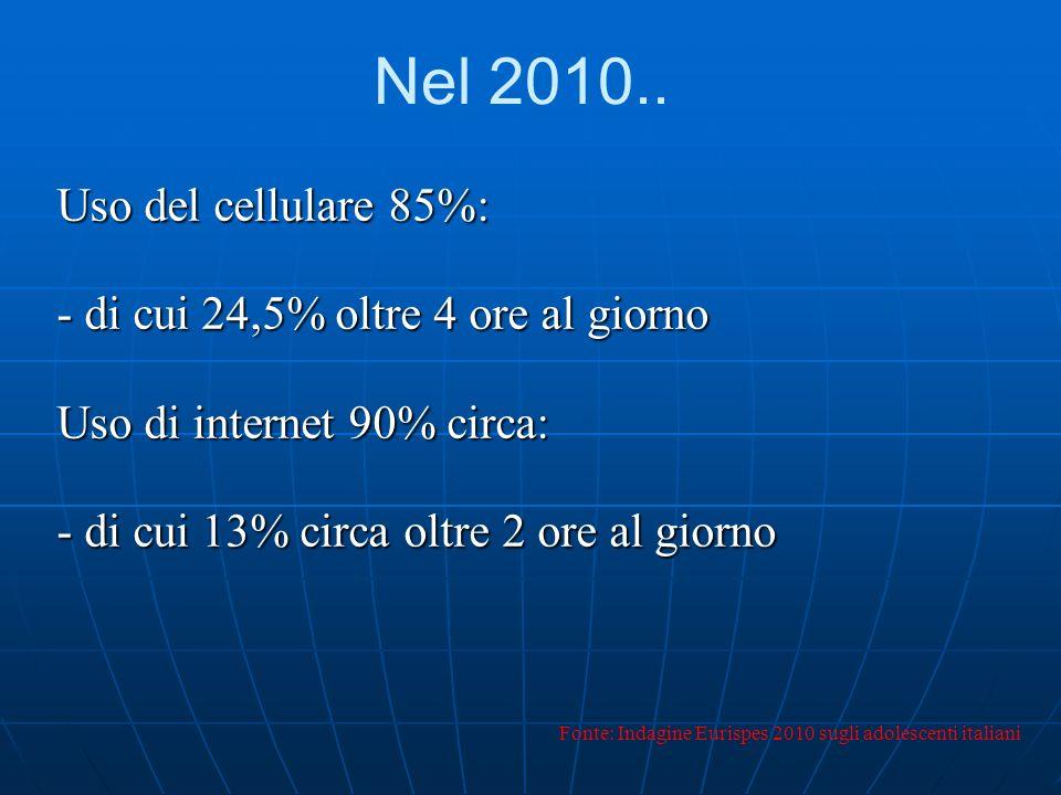 Nel 2010.. Uso del cellulare 85%: - di cui 24,5% oltre 4 ore al giorno