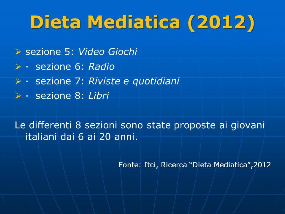 Dieta Mediatica (2012) sezione 5: Video Giochi · sezione 6: Radio