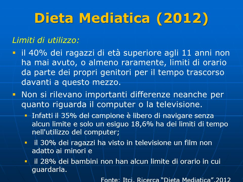Dieta Mediatica (2012) Limiti di utilizzo: