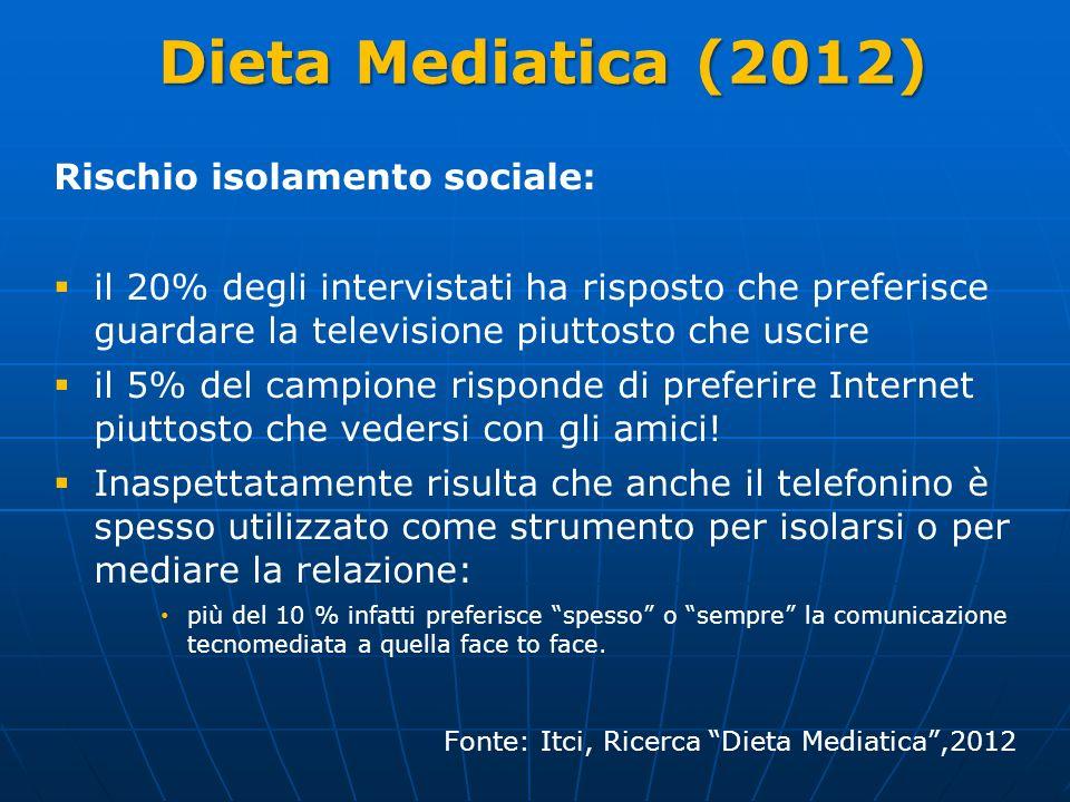 Dieta Mediatica (2012) Rischio isolamento sociale: