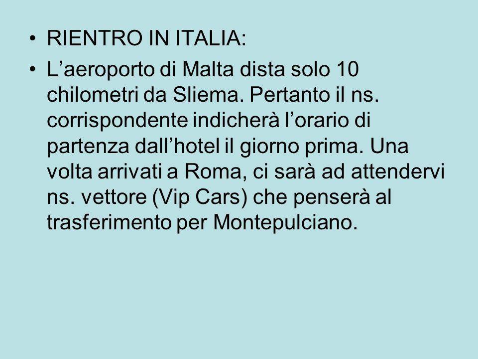 RIENTRO IN ITALIA: