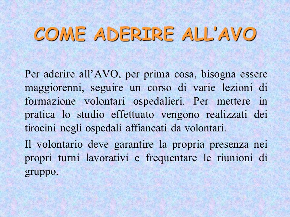 COME ADERIRE ALL'AVO