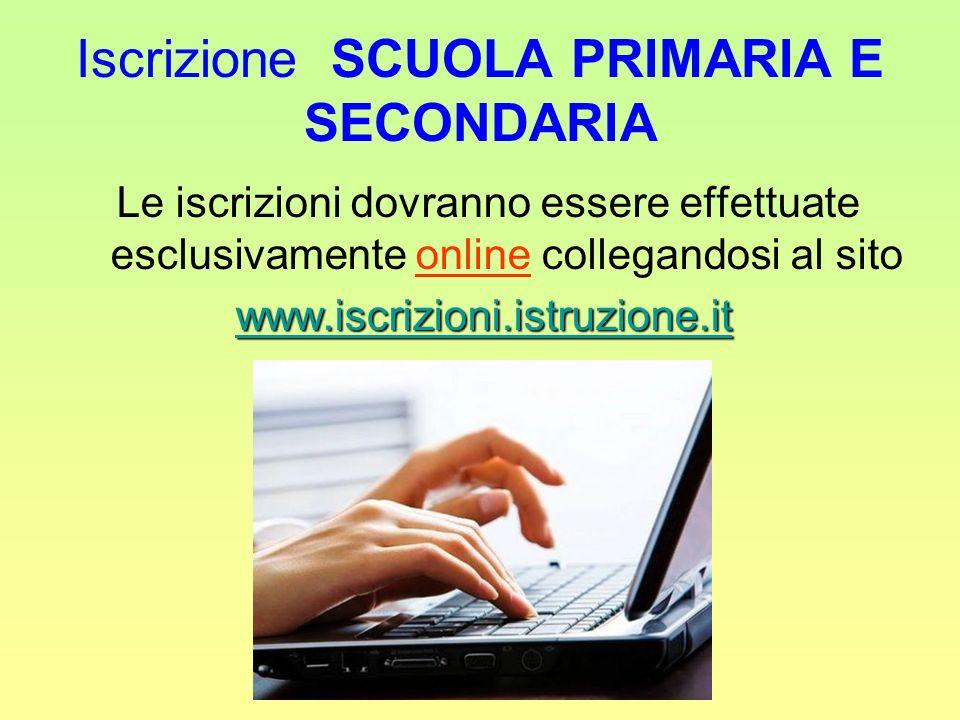 Iscrizione SCUOLA PRIMARIA E SECONDARIA