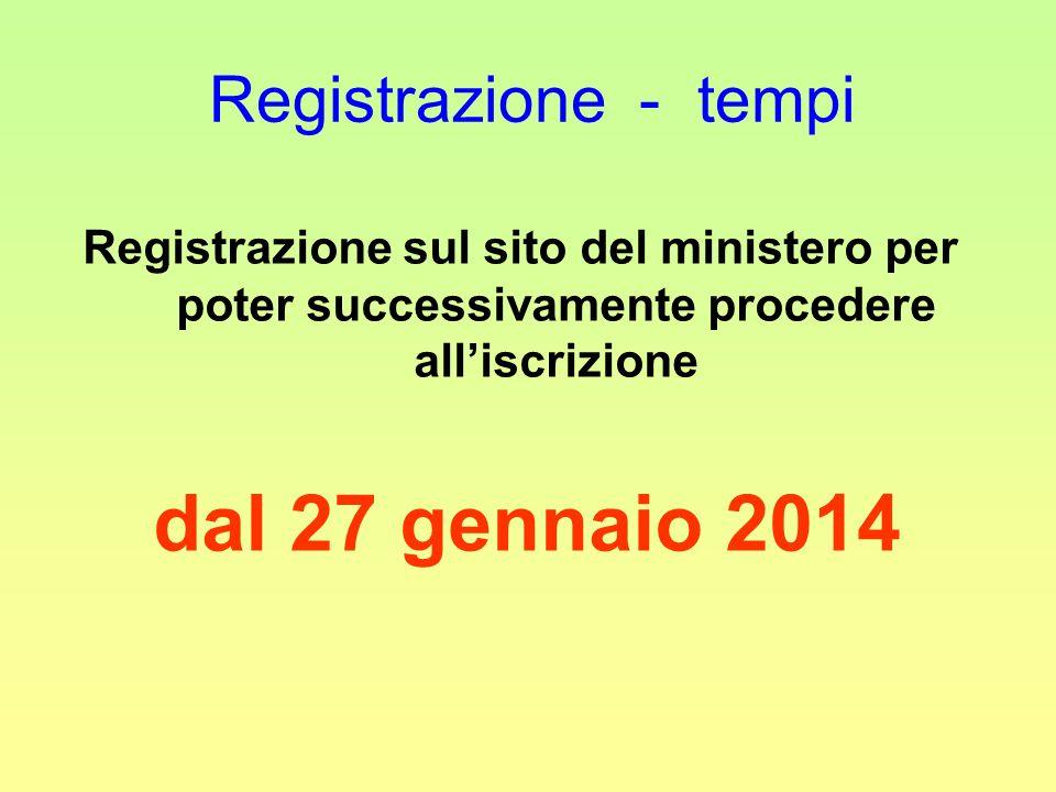 Registrazione - tempi Registrazione sul sito del ministero per poter successivamente procedere all'iscrizione.
