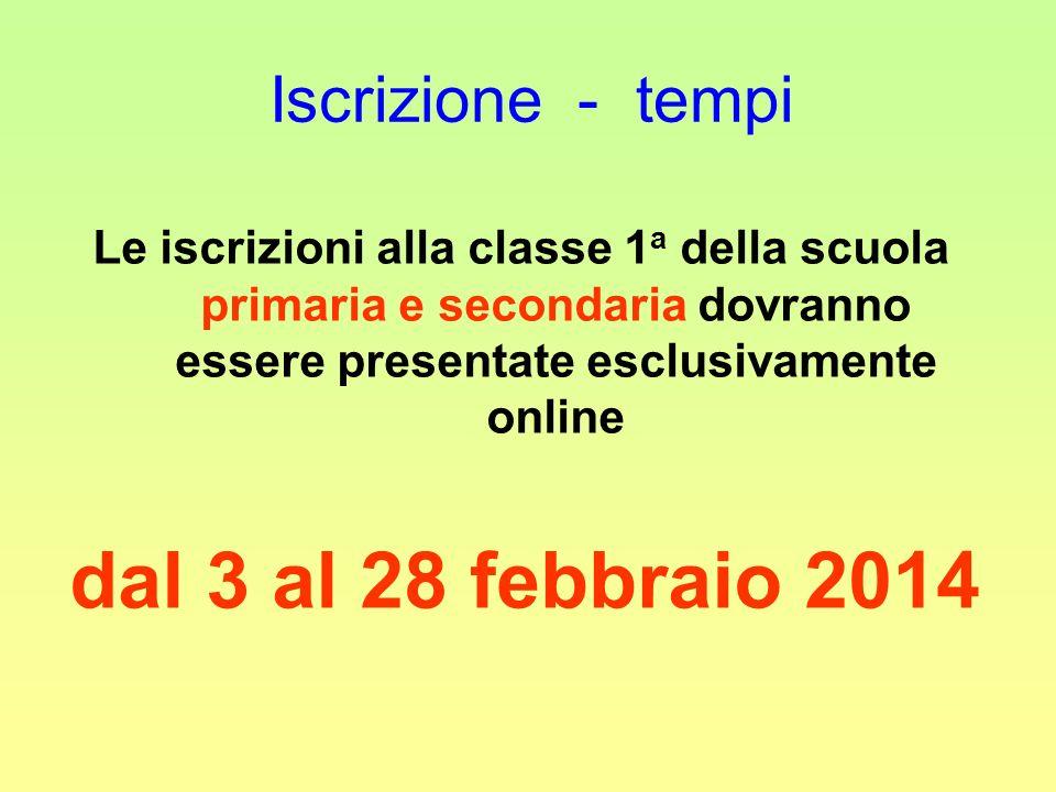 Iscrizione - tempi Le iscrizioni alla classe 1a della scuola primaria e secondaria dovranno essere presentate esclusivamente online.