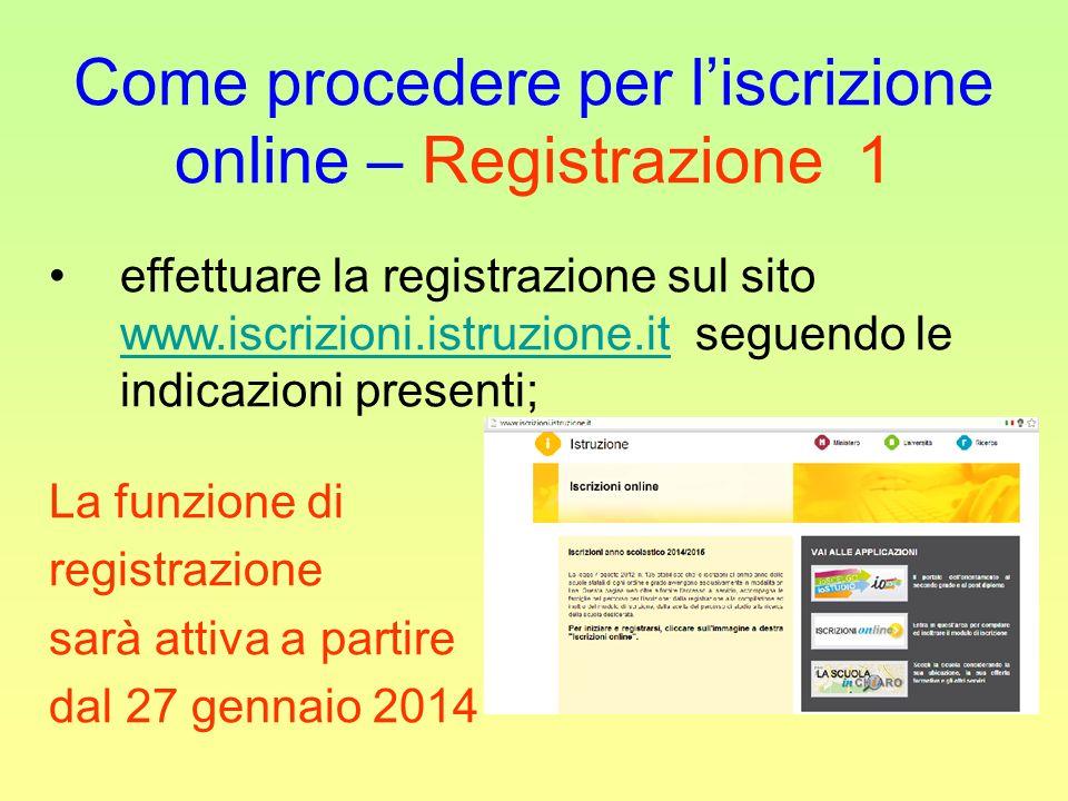 Come procedere per l'iscrizione online – Registrazione 1