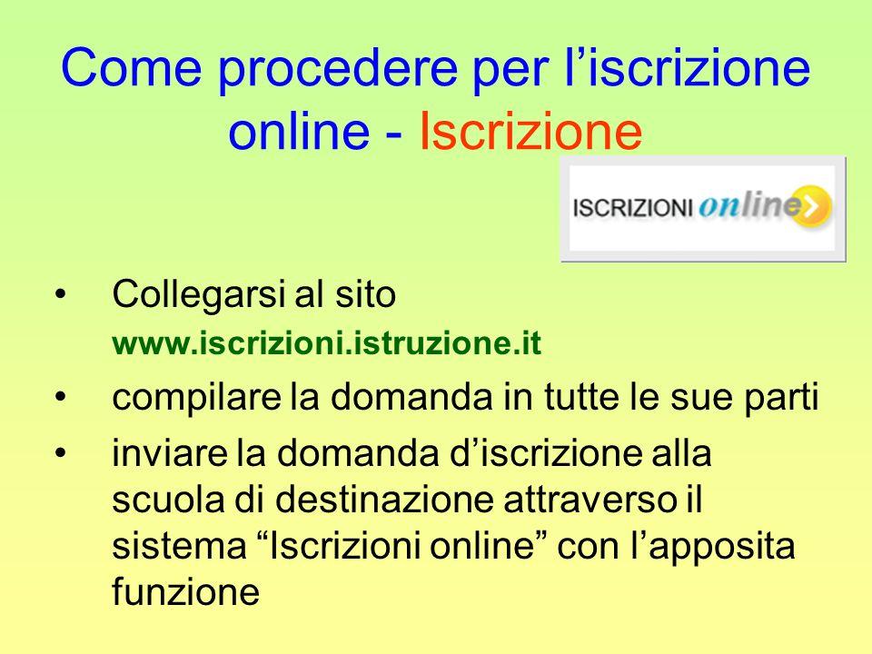 Come procedere per l'iscrizione online - Iscrizione