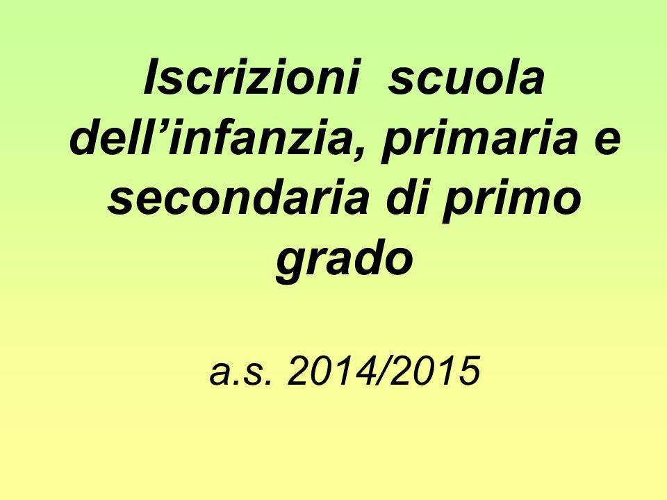 Iscrizioni scuola dell'infanzia, primaria e secondaria di primo grado a.s. 2014/2015