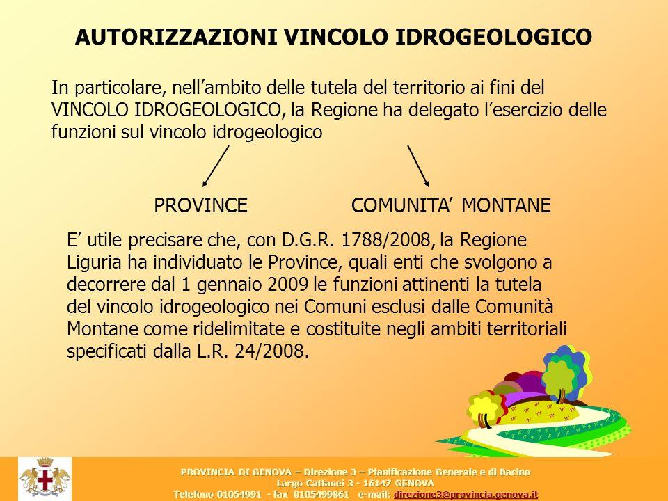 AUTORIZZAZIONI VINCOLO IDROGEOLOGICO