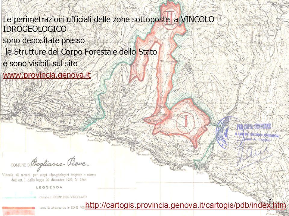 Le perimetrazioni ufficiali delle zone sottoposte a VINCOLO IDROGEOLOGICO