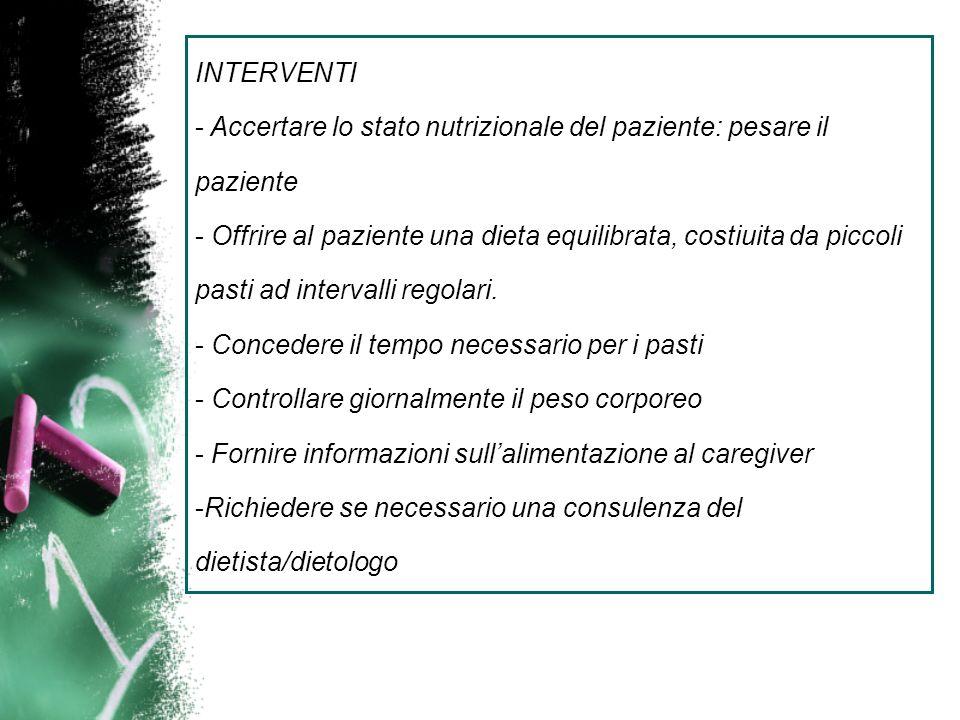 INTERVENTI Accertare lo stato nutrizionale del paziente: pesare il paziente.
