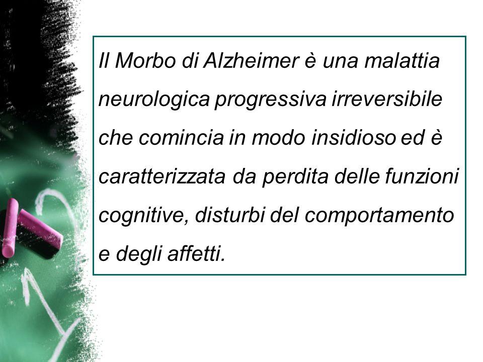 Il Morbo di Alzheimer è una malattia neurologica progressiva irreversibile che comincia in modo insidioso ed è caratterizzata da perdita delle funzioni cognitive, disturbi del comportamento e degli affetti.